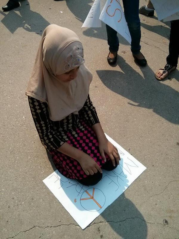 Pendant une manifestation pour la Palestine