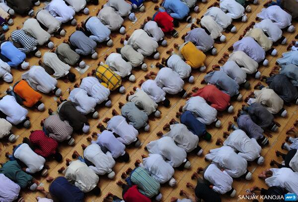 A la mosquée Vasi Ullah à Allahabad, en Inde